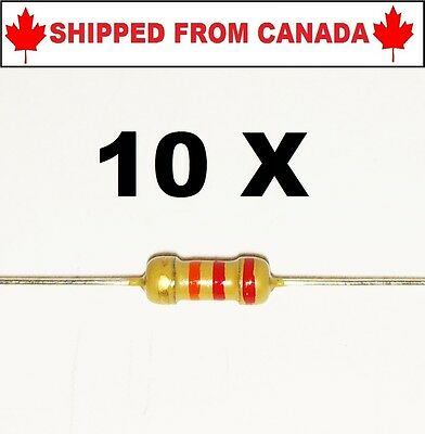 10PCS 22k Ohm 1/4W 5% Resistors Carbon Film - Shipped From Canada