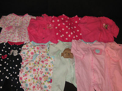Baby Girls NB 0-3 Months Sleepers Sleepwear Spring Summer Clothes Lot S15