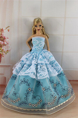 Blue Fashion Princess Party Dress/Evening Clothes/Gown For Barbie Doll S331