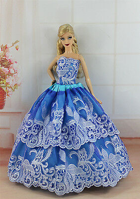 Blue Fashion Princess Party Dress/Evening Clothes/Gown For Barbie Doll S332