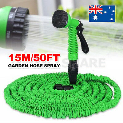 15M Expanding 50Ft Expandable Flexible Garden Water Hose Pipe Spray Gun Non Kink