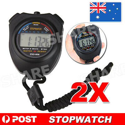 2x Digital LCD Chronograph Handheld Sports Counter Stopwatch Timer Stop Watch