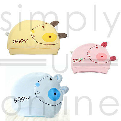 Cotton Cute Baby Infant Hat Newborn 0 - 3 Months Pink, Yellow & Blue