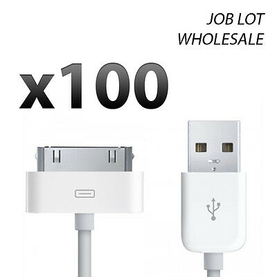 Wholesale 100x 30 Pin USB Charger Charging Cable Lead for iPhone 4s 4 iPad iPod