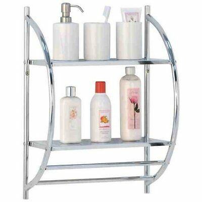2 Tier Modern Chrome Wall Mounted Bathroom Shelf Unit Towel Rail Rack
