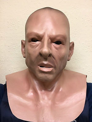 Realistic Male Bald Head Hard Man Thug Soldier Human Face Mask Latex Masks