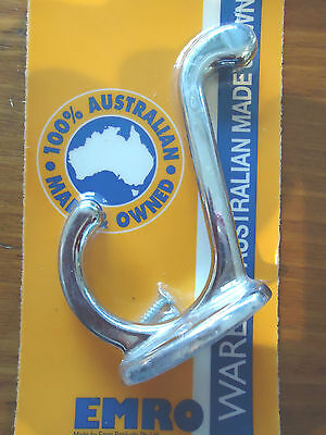 Coat And Hat Hook Chrome Plated Large Angled 80Mm & Screws Australian Made New