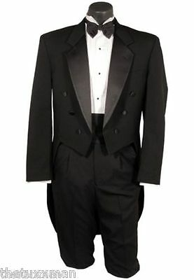 46 XL Mens Chaps Black Full Dress Tuxedo Used Tailcoat Formal Wedding Ball