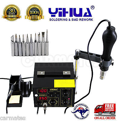852D++ 2in1 HOT AIR GUN HOLDER SOLDERING REWORK SMD STATION lead free ESD safe