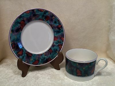 Set of 4 Flat Cups & Saucers / Sango / Jewel 353965 / Deborah Mallow Collection