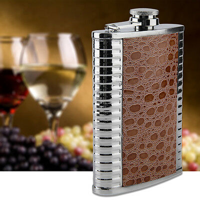 New Portable 200ml 8oz Stainless Steel Hip Flask Alcohol Drinking Wine Bottle EQ