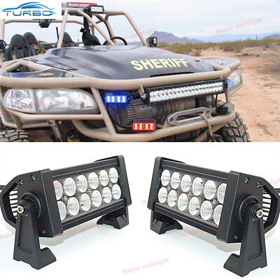 "2x 7"" INCH 72W LED WORK LIGHT BAR FLOOD OFFROAD ATV FOG TRUCK LAMP 4WD 12V 6"""