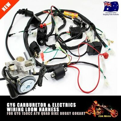 GY6 150CC ATV QUAD Buggy Carby Carburetor WIRE HARNESS WIRING HARNESS Solenoid