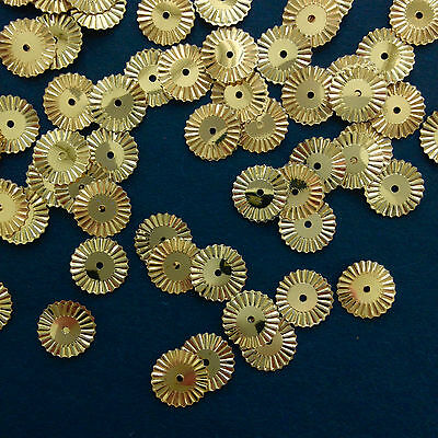 250 x 10mm Crimped Edge Round Sequins.  Gold, or Silver.