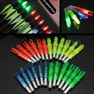 6PCS Hunting Lighted Nock Compound Bow LED Lighted Arrow Nocks Red Green