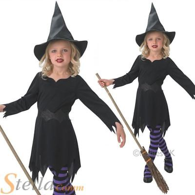 Girls Black Witch Costume Sorceress Fancy Dress Halloween Kids Childs Outfit