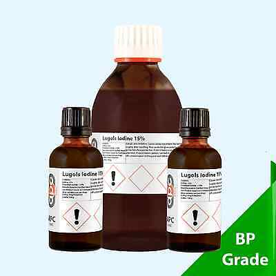 Lugols Iodine 15% Solution BP Grade - *30ml - 500ml Pack Sizes*