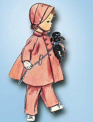 1950s Vintage Simplicity Sewing Pattern 4454 Toddler Girls Flared Coat & Hat Sz4