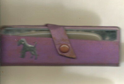 AI-057 - Purple Airedale Terrier Child's Comb with Glass Mirror Case Vintage 50s