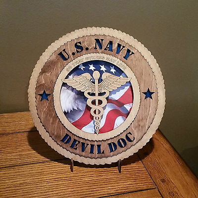 U. S. Navy Devil Doc Wall Tribute with Flag Background