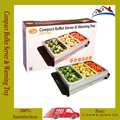 STAINLESS STEEL  200W Buffet Server & Warming Tray/Hotplate+3 Lids-Dinner/Party