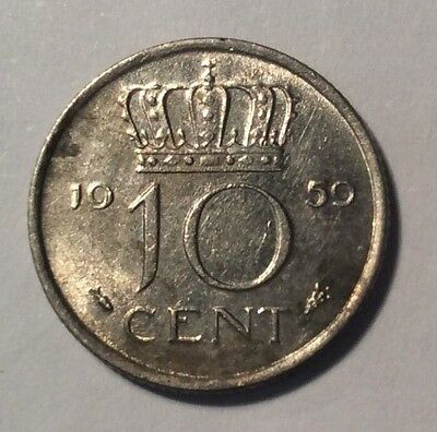 Netherlands 10 Cent- 1959 - Collectible Coin