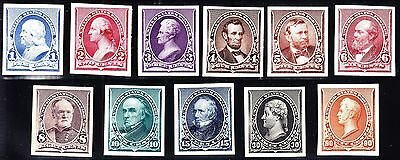 US 219P4-229P4 1890 Issue Proofs on Card VF-XF SCV $620