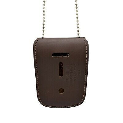 Brown Universal Badge & ID Holder Neck Chain Leather Police Bail Agent Security