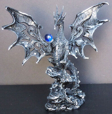 """HERALD    Black Medieval Dragon with Blue Globe on Rock     Figure Statue H8"""""""
