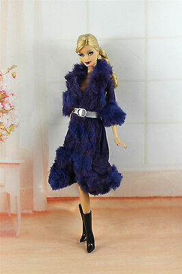 Lovely Fashion Winter Coats Clothes/Outfit+Boots For Barbie Doll C007U