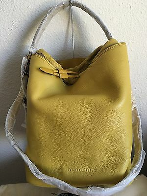 Burberry Brit Leather Medium Susanna Hobo Bucket Bag in Bright Straw NWTs 39c0aae776a95