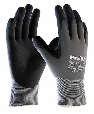 12 x Pairs ATG MaxiFlex Ultimate 42-874 Nitrile Foam Breathable Work Gloves