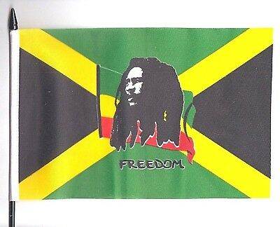 Jamaica Rastafaria​n Bob Marley 'Freedom' Medium Hand Waving Flag
