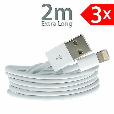 3x 2m 8 Pin USB Data Sync Charger Charging Cable Lead Cord iPhone 6s Plus 5 iPad