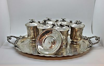 Antique Original  Handmade Islamic Full Silver Heavy  Cup And Tray Set
