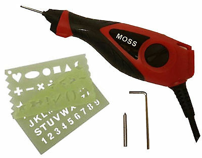 Moss Electric Engraver Engraving Tool For Wood Metal Glass Plastic With Stencil