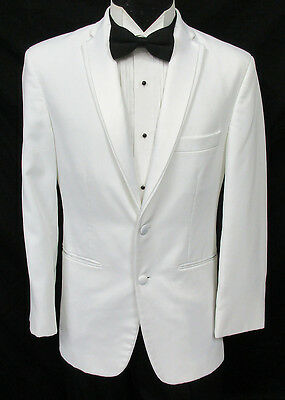 White 2 Button Satin Notch Lapel Tuxedo Dinner Jacket Wedding Prom Cruise Mason