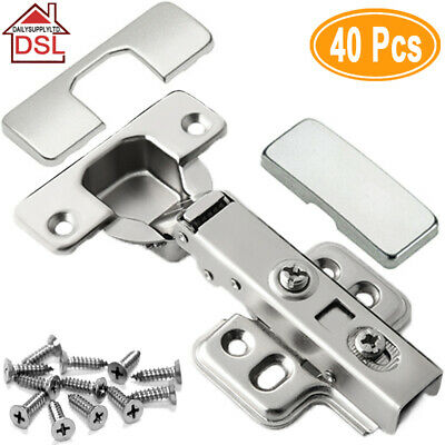✔20 for £18.99✔ 35MM SOFT CLOSE HINGES KITCHEN CABINET CUPBOARD FLUSH DOOR PLATE