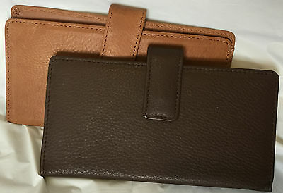 Rolfs lot of 2 Leather Checkbook Cover Wallet Brown/camel Card Slots 1 ID Window