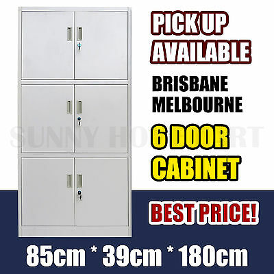6 Door Office Filing Cabinet Locker Steel Storage Cupboard Stationary File
