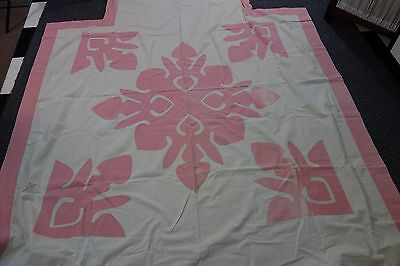 1920's Coverlet & Runner- Cream w/Huge Pink Appliques-Whole Top Design- SALE