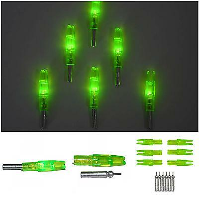 New 12P Green LED Archery Nocks Outdoor Hunting Lighted Arrow Tail Bow Accunocks