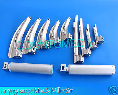 Laryngoscope Mac & Miller Set of 9 BLADES & 2 HANDLES EMT Intubation (no case)