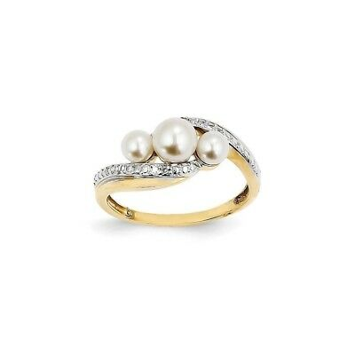 Genuine 14k Yellow Gold Diamond and Pearl Ring  2.03 gr