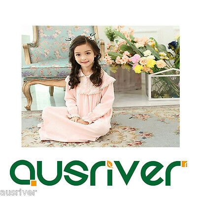 Girls Spring Retro Lapel Cotton Long-sleeved Cotton Family Nightdress Tracksuit