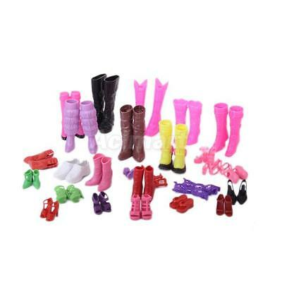 25 Pairs Mixed Style High Heel Shoes, Boots,Sandals... Set For Barbie Doll Toy