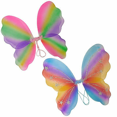 Rainbow Butterfly Fairy Wings Fancy Dress Dressing Up Ladies Girls Kids Party