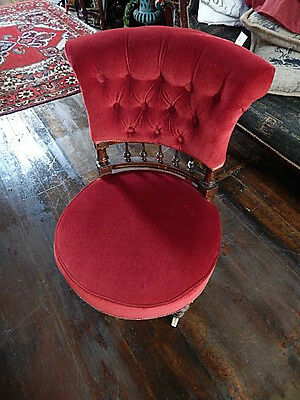 Victorian Chair Stool Sofa Low Seat Red Solid Wood Casters
