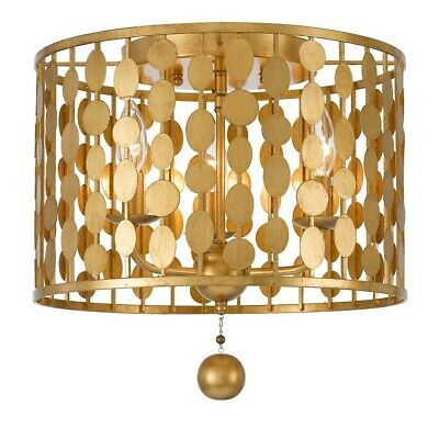 Crystorama Layla 3 Light Antique Gold Ceiling Mount - 544-GA