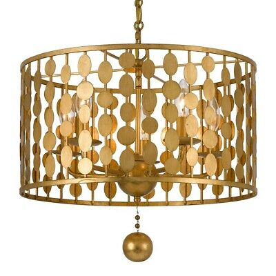 Crystorama Layla 5 Light Antique Gold Chandelier - 545-GA